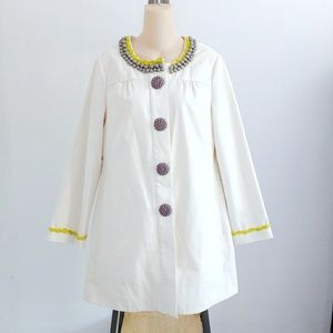 Boden Whimsy Cute Cream Trench Swing Coat Size 10